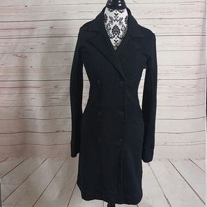 James Perse Black Double Breasted Trench Pea Coat